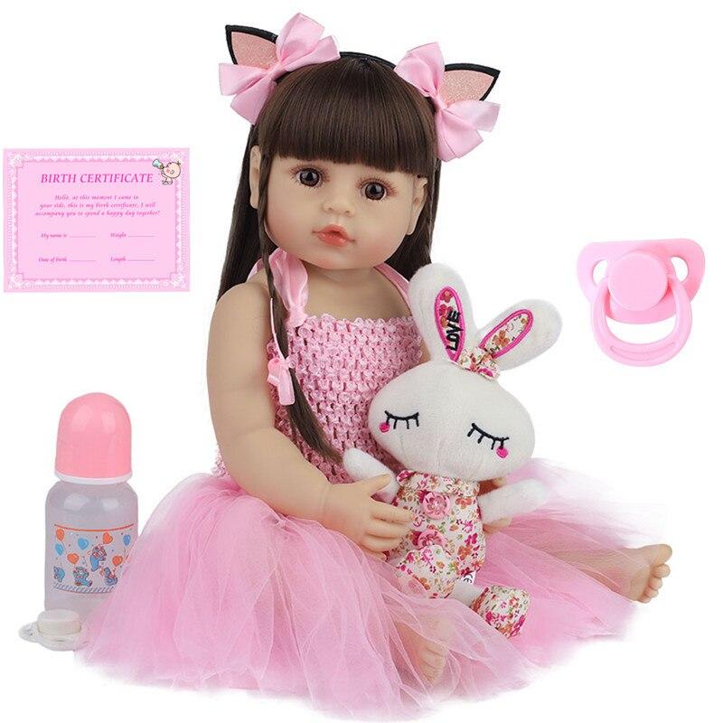 Muñeca bebé realista de silicona de 55cm para niños, juguete de baño de princesa rosa, muñeca bebé realista de 22 pulgadas