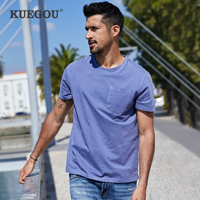 KUEGOU 2020 Summer 100% Cotton Embroidery Pocket T Shirt Men Tshirt Brand T-shirt Short Sleeve Tee Shirt Plus Size Tops 3369