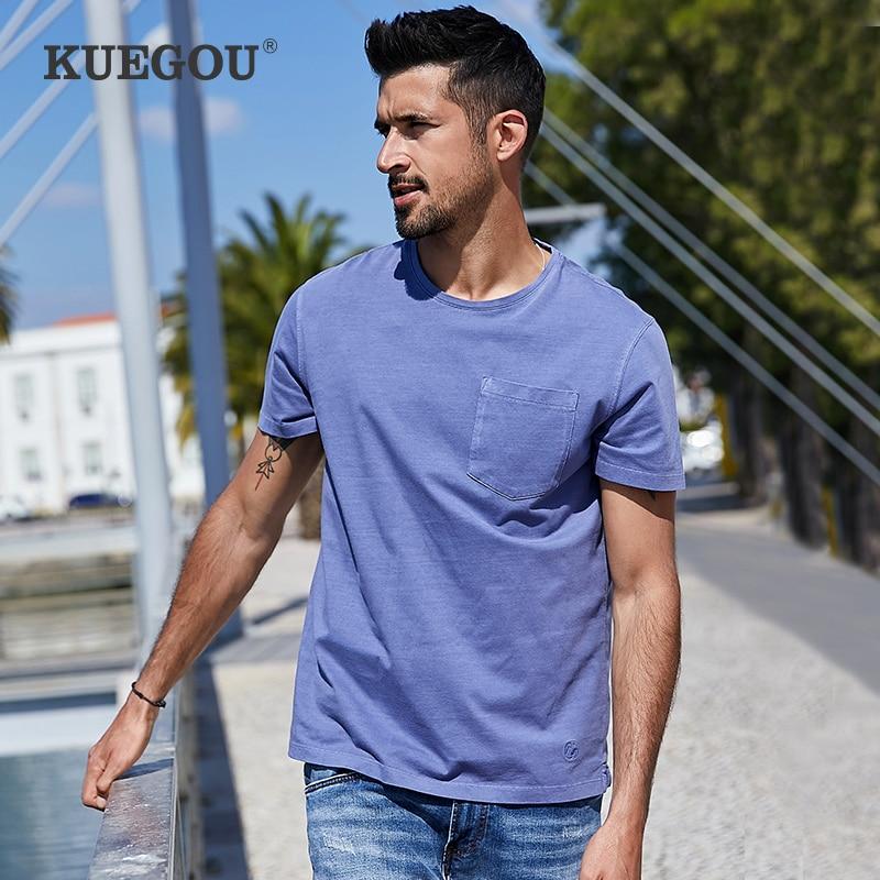 KUEGOU 2020 Summer 100% Cotton Embroidery Pocket T Shirt Men Tshirt Brand T-shirt Short Sleeve Tee Shirt Plus Size Tops 3369
