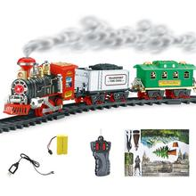 RC Electric Smoke Train Toy Remote Control Rechargeable Model Vehicle Conveyance Car Steam Smoke Train Fun Baby Kids Toys Gift