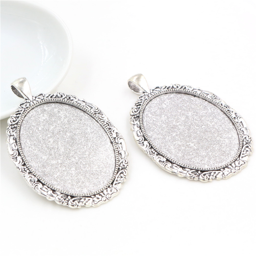 New Fashion  5pcs 30x40mm Inner Size Antique Silver Plated Flowers Style Cabochon Base Setting Charms Pendant (B3-40)