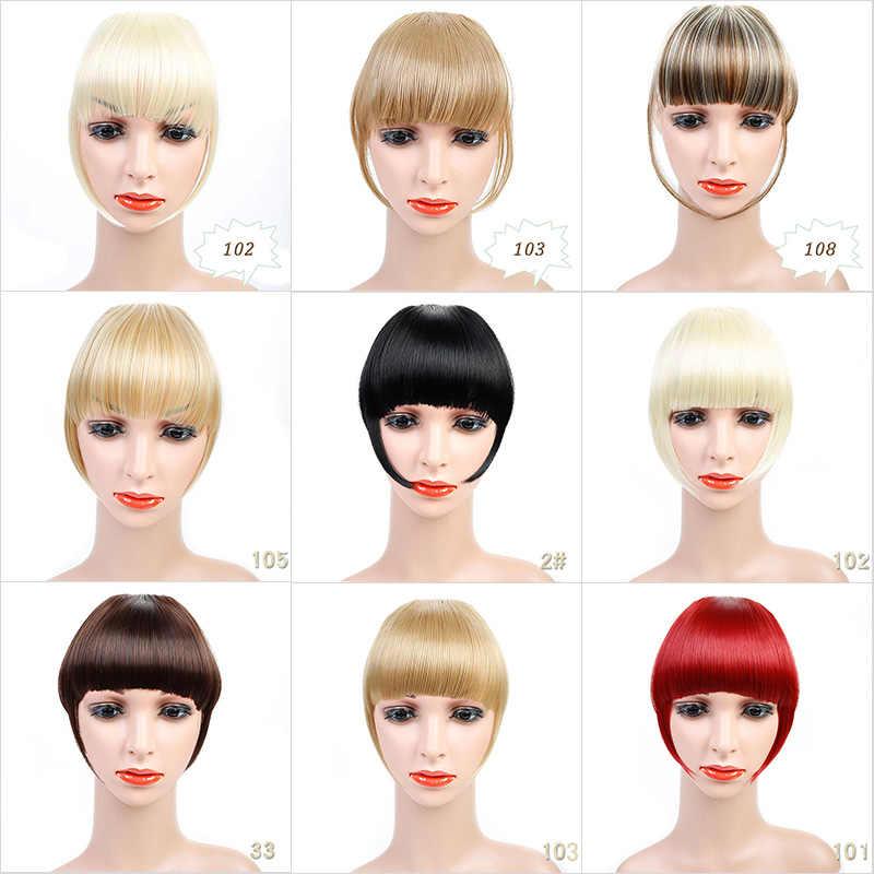 Lanlan 2Clips Clip In Uitbreiding Van Haar Zwart Bruin Blond 20 Kleuren Side Symmetrie Fringe Pony Haarstukken Synthetische haar Pony
