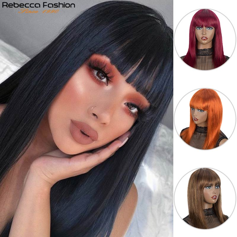 Rebecca Wigs Straight Wig With Bnags Human Hair Full Machine Made Wigs Pre Plucked Blonde Blue Red Long Straight Wigs For Women