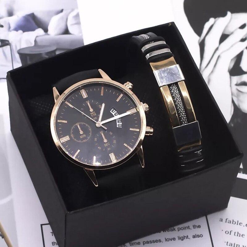 Мужские часы браслет набор модные спортивные наручные часы чехол из сплава кожаный ремешок кварцевые деловые наручные часы календарь часы ...