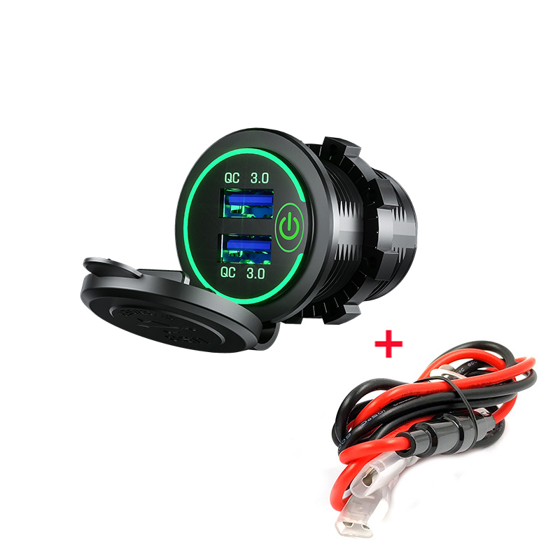 DIY QC3.0 Dual USB Charger Switch Car Charger 60cm Cable With Fuse For 12V/24V Car Boats And Marine Motorcycle Truck SUV UTV