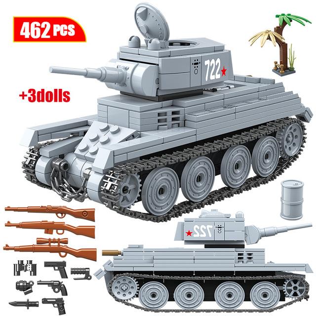 462PCS Military Soviet Union BT-7L Light Tank Building Blocks WW2 War Tank Army Soldiers Figures Blocks Toys for Boys
