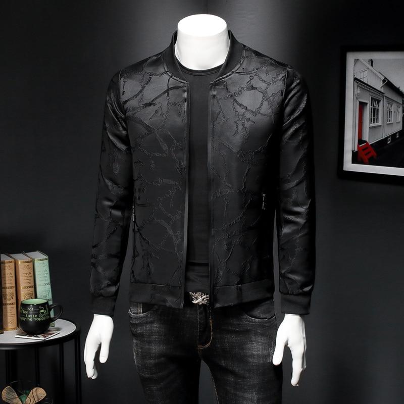 Vintage Black Jacket Men Spring Slim Fit Jacquard Bomber Jacket Coat Men High Quality 5xl Chaqueta Hombre Casual Bomber Outfit