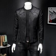 Vintage Black Jacket Men Spring Slim Fit Jacquard Bomber Jacket