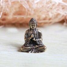 Zocdou 1 peça de cobre buda chinês pessoas homem pequeno modelo ornamentos estátua artesanato estatueta carro decoração para casa