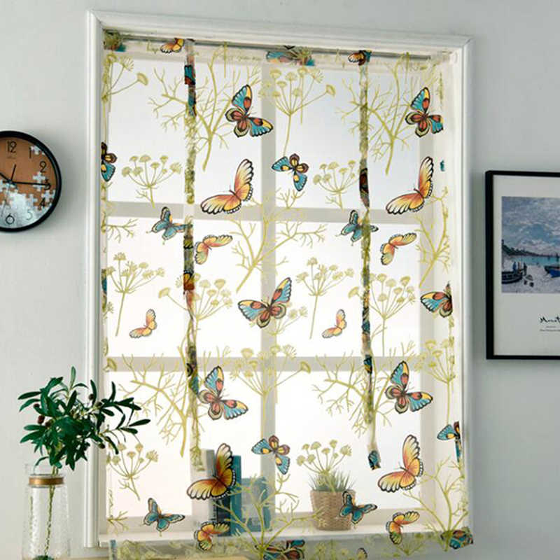 Butterfly Tulle Sheer Voile Roman Short Kitchen Windows Curtains For Kitchen Valances Living Room Bedroom Bay Home Decoration Curtains Aliexpress