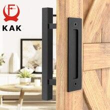 KAK 12 inches Sliding Barn Door Handle Pull Cabinet Flush Hardware Set Wood Door Handle Interior Door Furniture Handle Hardware