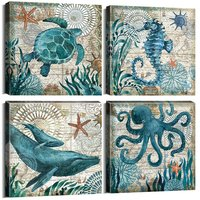 Home Wall Art Deco-Marine Themed Mediterranean Style Canvas with Frame Sea Animal Octopus Sea Turtle Seahorse Whale Picture Post