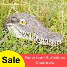 Плавающая голова крокодила Пруд бассейн вода садовые украшения Высокое качество плавающая Смола голова крокодила для украшения