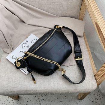 casual  chest bag small bag women's bag new 2020 ins chain messenger bag crowd bag gold  metal chain crossbody bag