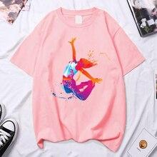 2021 Watercolor Dancer Print Girl Pink T Shirt Kawaii Gymnastics Dance Lover Gift Tee Femme Custom Tshirt Summer Plus Size Tops