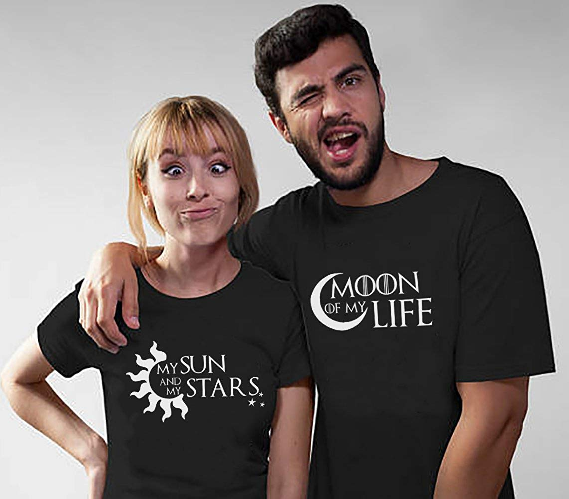 Couple Lovers Bff Tshirt Valentine's Day His and Hers Love Shirts Moon of My Life My Sun Stars Women Funny Cotton graphic tumblr image
