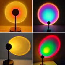 Sunset Projector Lamp Rainbow Floor Stand Lamp Romantic for Home Bedroom Coffe shop Background Wall Decoration USB Table Lamp