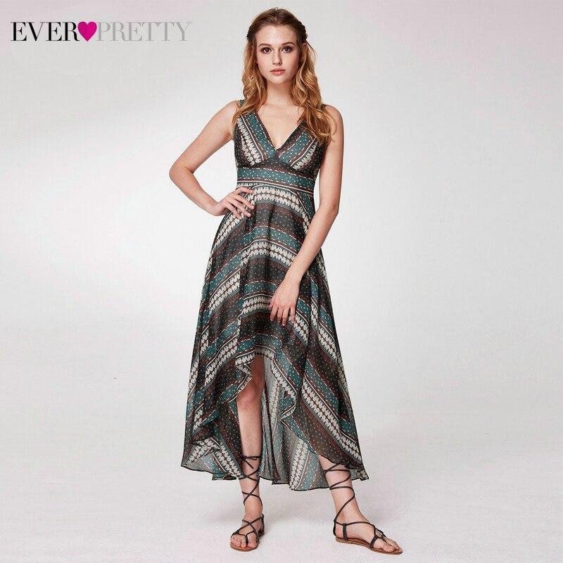 Casual Printed Homecoming Dresses Ever Pretty AS05971 V-Neck Knee-Length Striped Simple Short Beach Dresses Vestidos Cortos