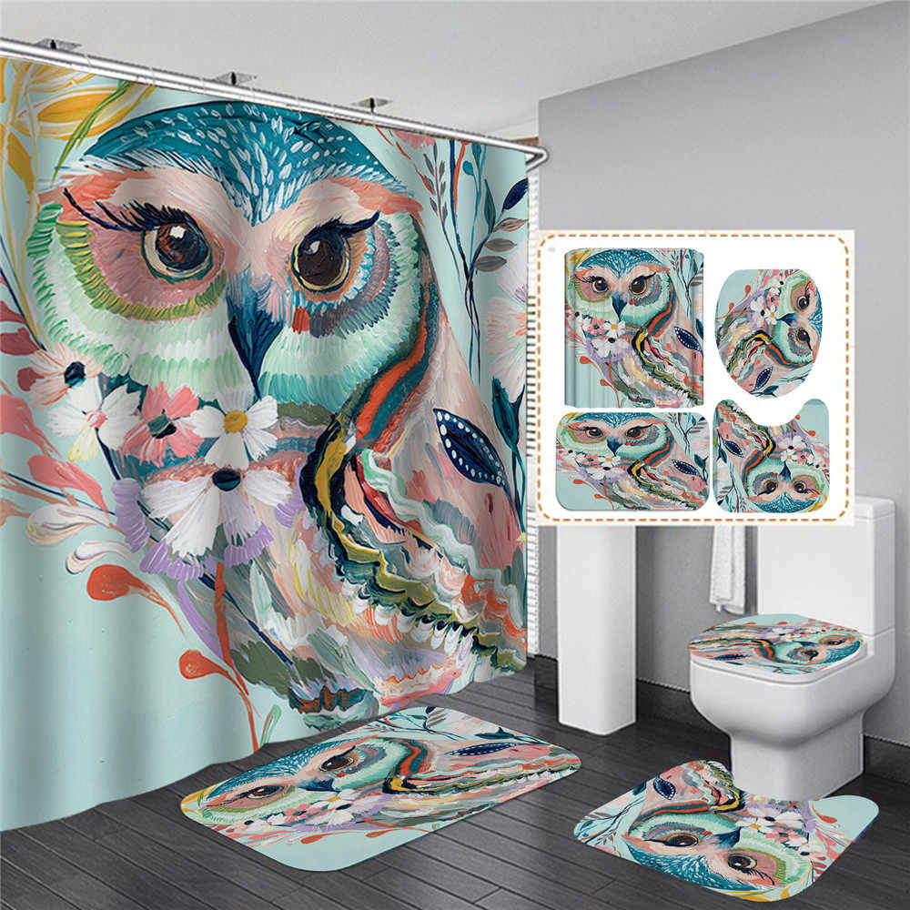 Animal Owl Shower Curtains Waterproof Bathroom Decor Bath Bathtub