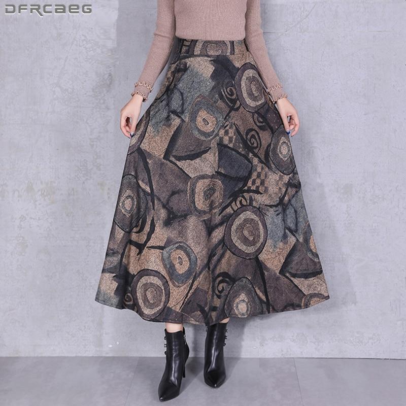 Fashion Streetwear Graffiti Hippie Punk Skirt Warm Woolen Winter Skirts Women Vintage High Waist Saia Longa Big Size Maxi Skirt