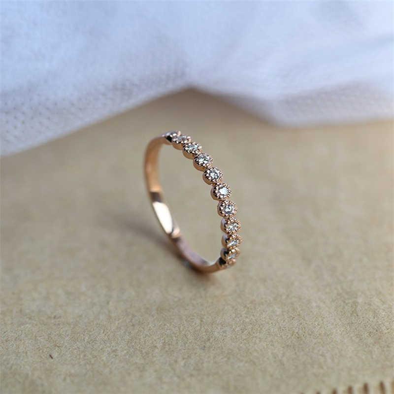 14K Mawar Emas 2 Carat VVS1 Diamond Ring untuk Wanita Anillos Batu Permata Alami Murni Bizuteria 14K Emas Bulat pernikahan Diamond Ring