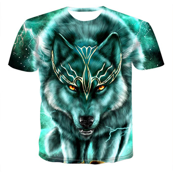 2020 Summer 3D Print s New T- Shirt Wolf Personalized Men Novelty Animal Tops T-Shirt Short Sle