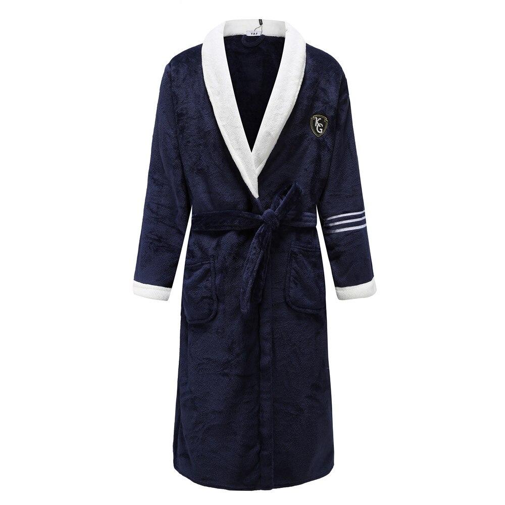 Elegant Solid Navy Blue Winter Lovers Kimono Robe Gown Men Keep Warm Flannel Sleepwear Homewear Casual Plus Size Bathrobe Gown