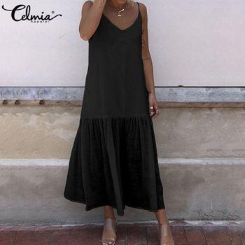 Celmia, vestido Sexy de verano sin espalda para mujer, vestido veraniego con volantes y tirantes finos con cuello en V, vestido informal de color liso para fiesta en la playa, Vestidos de talla grande
