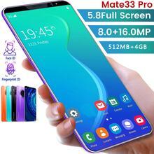 Mate33 pro smartphone com 512m + 4ggb grande memória 5.8 Polegada suporte de tela face/impressão digital desbloqueio duplo sim telefones celulares