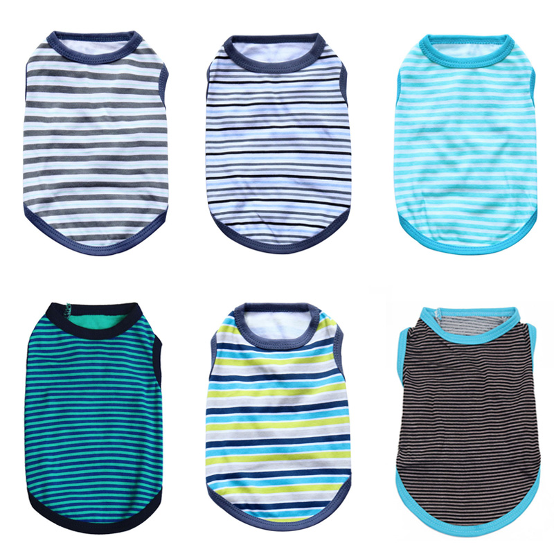 Summer Striped Dog Shirt Cotton Casual Pet Vest Comfortable  Dog Costume Puppy T-Shirt Breathable Dog Clothes