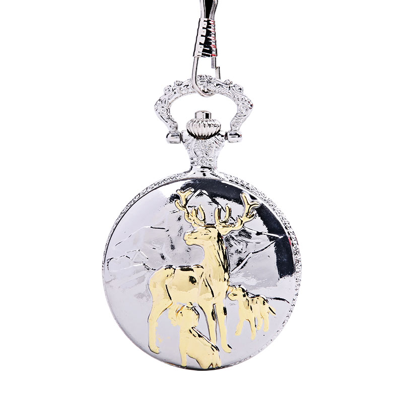 1027Vintage Large Thick Chain Relief Three Elk Mother And Child Pocket Watch Cute Deer Drinking Milk Classical Pocket Watch