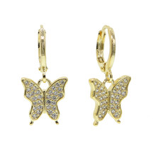 2020 Spring new arrived cute lovely women girl jewelry cz paved butterfly dangle drop earring(China)