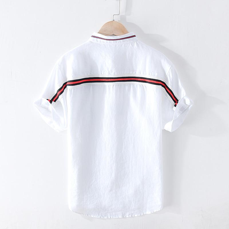 100% Pure Linen Summer Striped Shirts For Men Short Sleeve Fashion Shirt Man Casual Turn-down Collar Tops Y2448