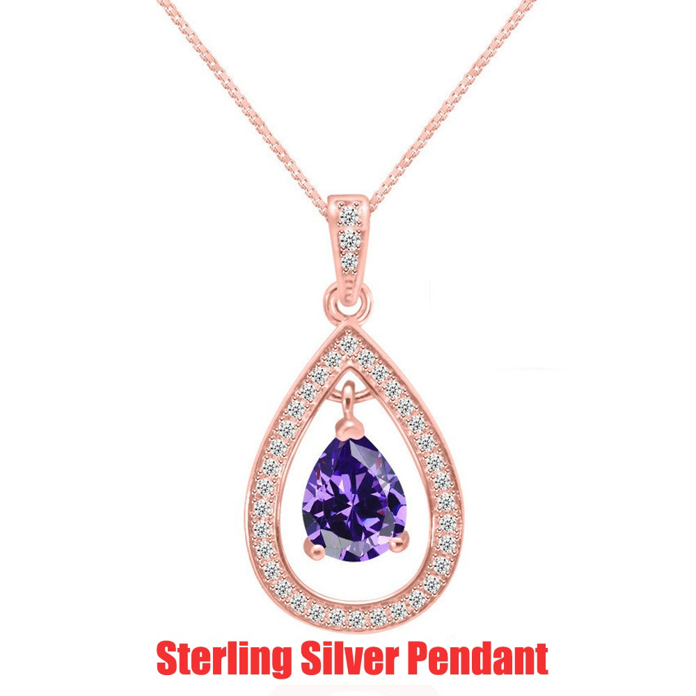 Genuine 14K Rose Gold Filled Sterling Silver Genuine Lab created Amethyst AAA ZC Accent Pendant Necklace