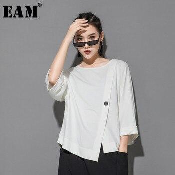 [EAM] 2021 New Spring Summer Round Neck Three Quarter Sleeve Hem Irregular Button Big Size T-shirt Women Fashion Tide JT233 - discount item  32% OFF Tops & Tees