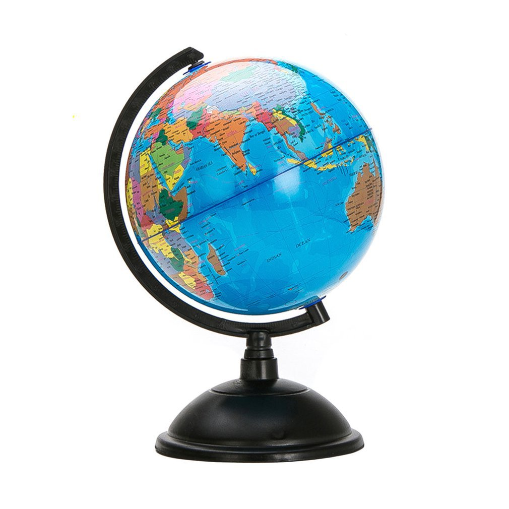 20cm White World Map Globe with Swivel Stand Geography Educational Toy Enhance Knowledge of Earth and Geography English