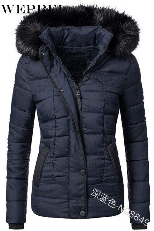 WEPBEL Женская куртка, пальто, толстая верхняя спортивная одежда, однотонное ветрозащитное пальто с меховым воротником, женское утепленное пальто с капюшоном|Пуховики|   | АлиЭкспресс
