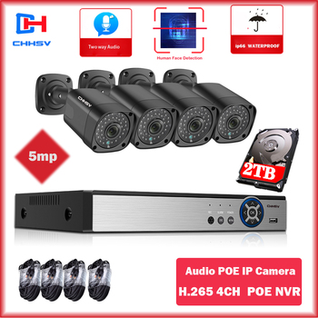 H.265 8CH 5MP POE NVR Kit Security Camera System Two Audio Record IP Camera Outdoor Waterproof CCTV P2P Video Surveillance Set techage h 265 8ch 2mp poe security camera system 1080p poe nvr kit p2p cctv video surveillance outdoor audio record ip camera