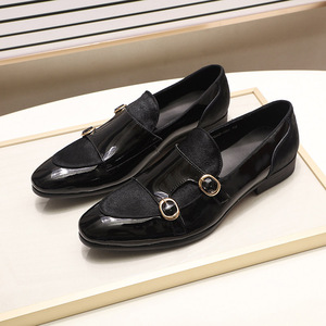 Image 4 - FELIX CHU Mens Wedding Loafers Gentlemen Banquet Party Dress Shoes Patent Leather with Horse Hair Casual Monk Strap Mens Shoes