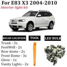 13x interior lâmpadas led canbus kit para bmw x3 e83 acessórios 2004-2010 mapa dome passo tronco lâmpada de luz