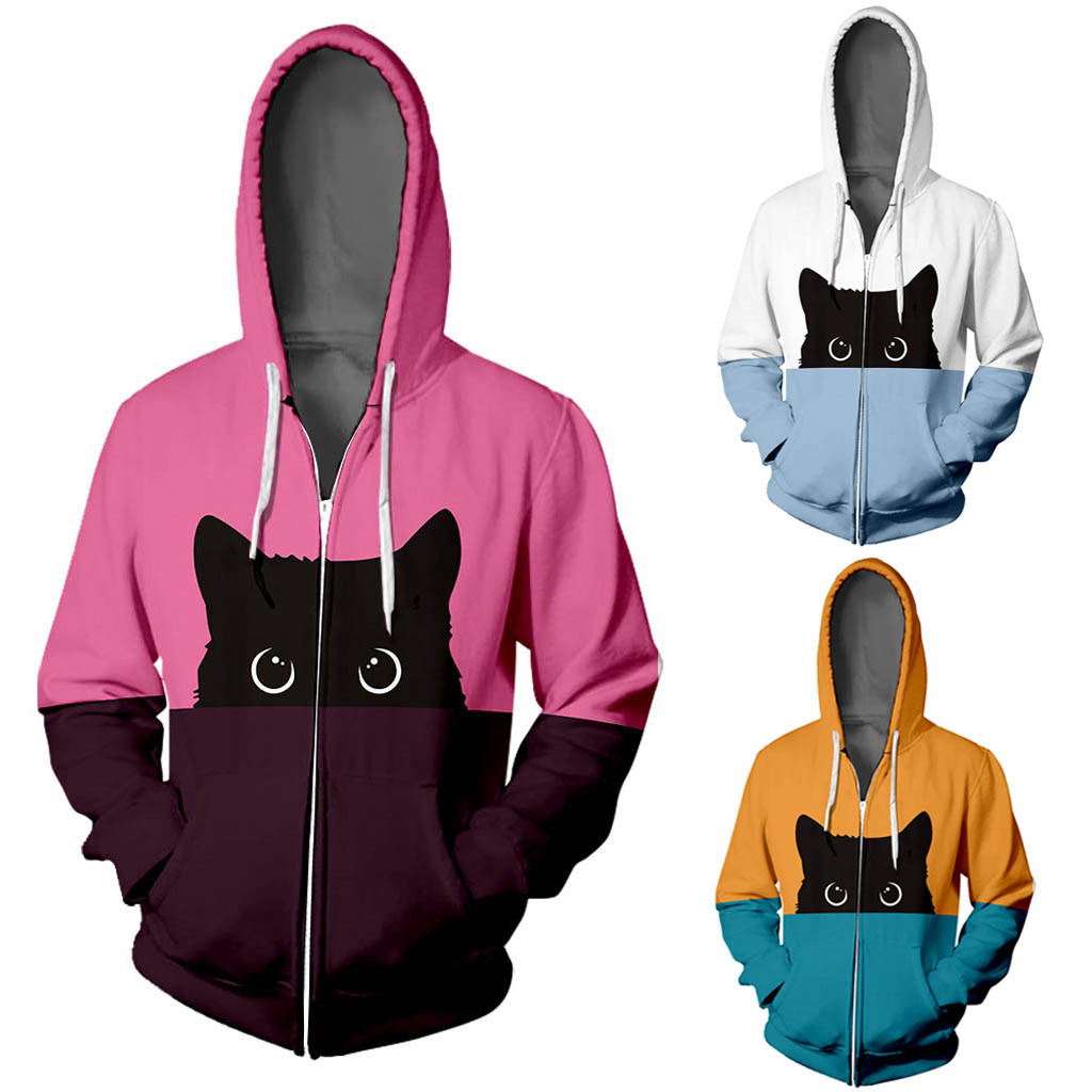 sudaderas mujer 2020 ropa mujer bluza damska Lover Cat Print Hoodie Hip Hop Zipper Color Stamped Long Sleeve  Coat  moletom