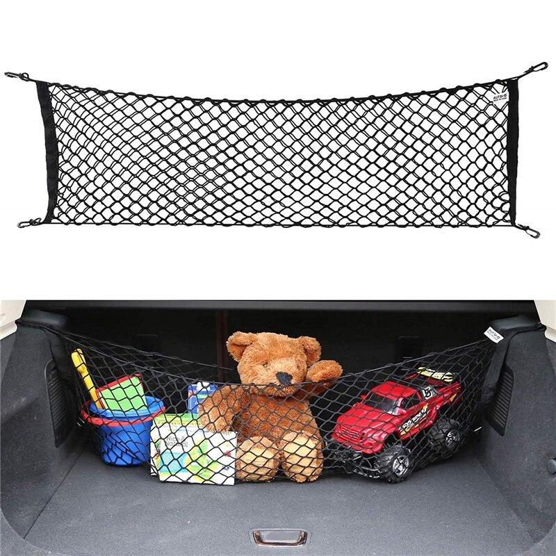 Black Universal Car Trunk Luggage Storage Cargo Net 10CM*50CM Elastic Stretchable Truck Organizer Net With 4 Hooks