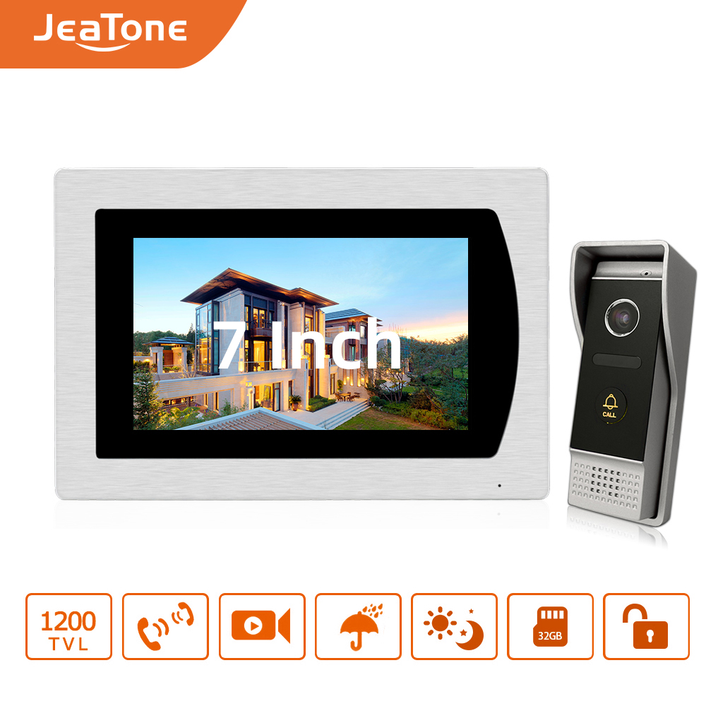 "7"" Touch Screen Video Door Phone Intercom Speaker Doorbell 4-Wired Waterproof Home Intercom System Unlocking Motion Detection"