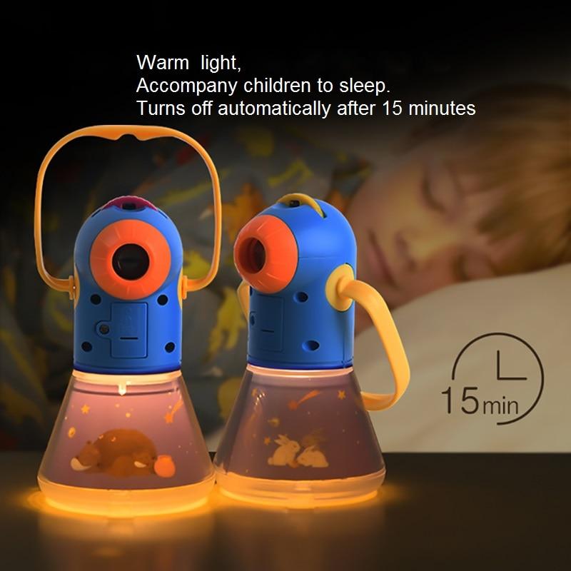 storybook noite luz da tocha projetor caleidoscopio criancas acender a lampada do bebe aprendizagem educacional para