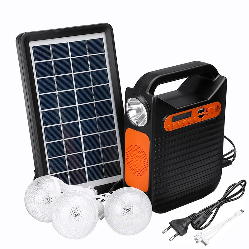 Indoor Outdoor bluetooth Solar Power Panel Generator Kit USB Charger Home System+3 LED Bulbs +MP3 Radio Emergency Lighting