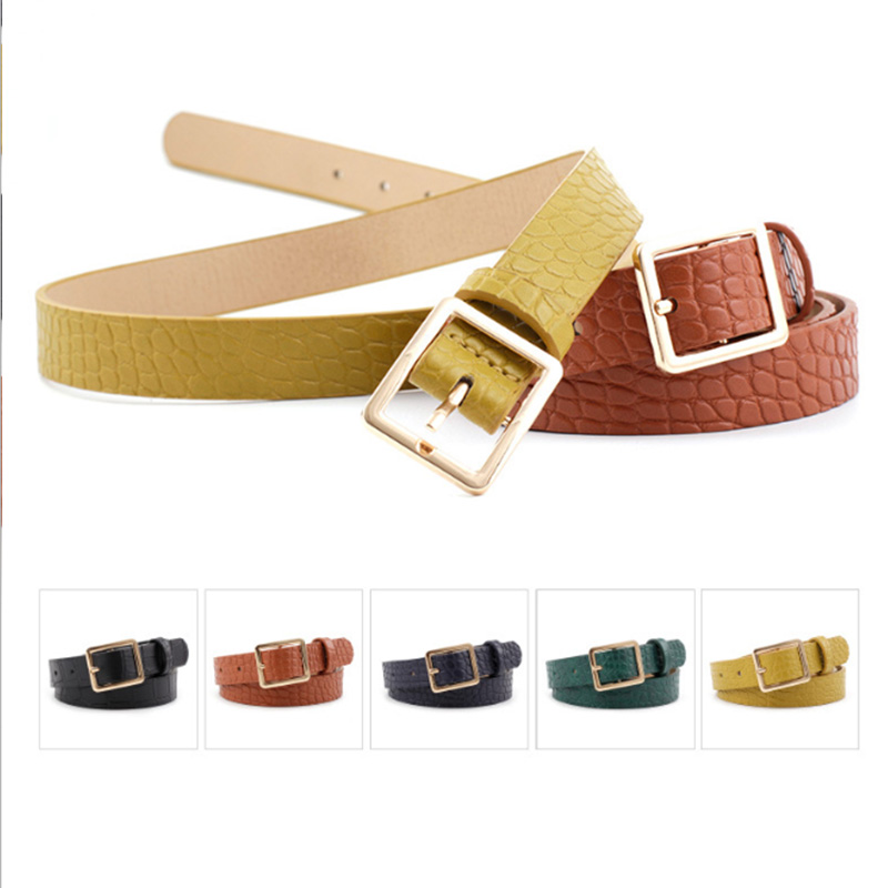 New Crocodile Pattern Belt Women's Fashion Wild Decoration Ladies Square Buckle Jeans Dress Belt Custom Wholesale 5 Colors