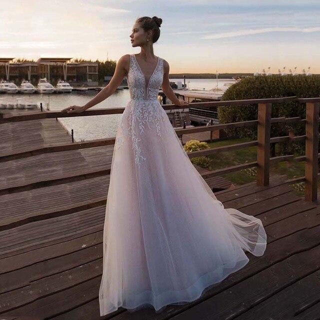 LORIE وردي فاتح الأميرة فستان الزفاف بلا أكمام زين فستان عروس a خط تول العروس ثوب زفاف s بوهو ثوب زفاف 2020