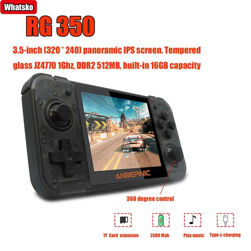 Nuovo ANBERNIC Retro Game RG350 Video di Gioco Palmare console di gioco MINI 64 Bit da 3.5 pollici IPS Dello Schermo di 16G di Gioco lettore RG 350 PS1 RG350M