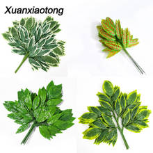 Xuanxiaotong 12pcs/set Green Mango Leaves Artificial Plants Tree Branches for Home party Decoration Wedding Scene