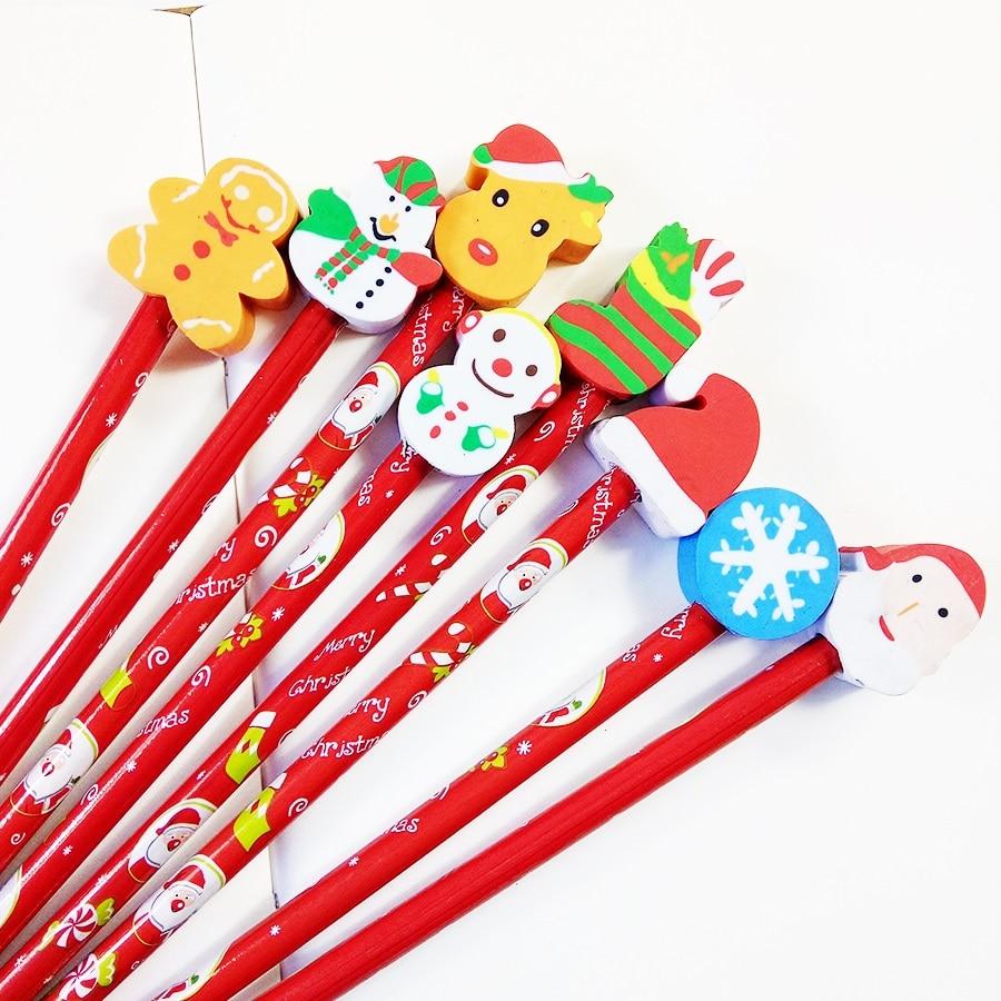 30 Pcs/lot Kawaii Christmas Pencil Wooden Pencil With Eraser Cartoon  Pencils Creative Stationery Children Student Pencil
